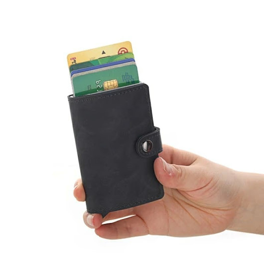 Genuine Leather RFID Aluminum Credit Card Holder (automatic Pop Up)- Small Card Case Wallet