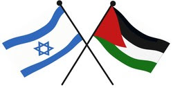 Flags for Israel and Palestine