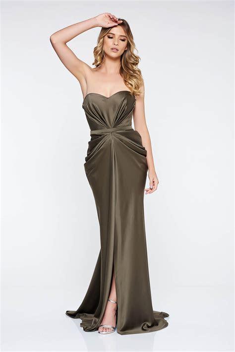 Ana Radu khaki dress with push up bra luxurious from satin