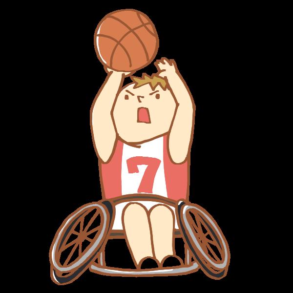 車いすのバスケット選手のイラスト かわいいフリー素材が無料の