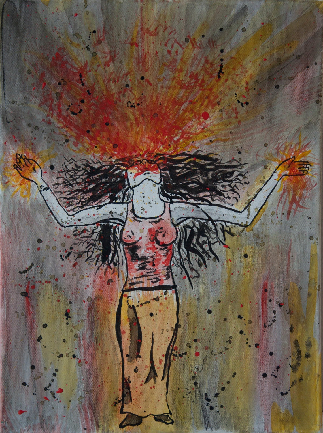 Woman Releasing Anger by screaming Canvas painting