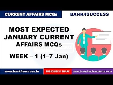 Weekly Current Affairs MCQs January Month (1st-7th) PDF Download | Latest GK