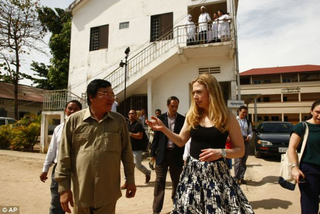 Visit: Chelsea is on her second day visit to an affected HIV/AIDS center in the town where Clinton Foundation projects placed