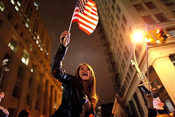 A reveler in New York celebrates after hearing news that Osama bin Laden is no more.