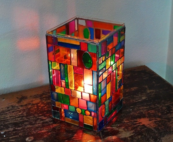 Faux Stained Glass Mosaic Luminary - Crafts by Amanda