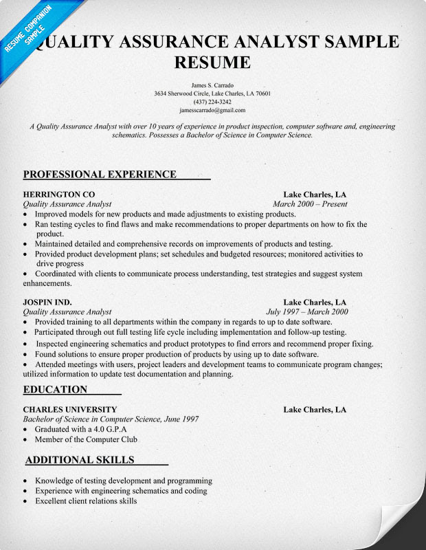 resume format  qa analyst resume samples
