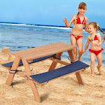 Gymax Kids Wooden Picnic Table Bench Set ChildrenOutdoor Garden Yard Beach W/ Cushion