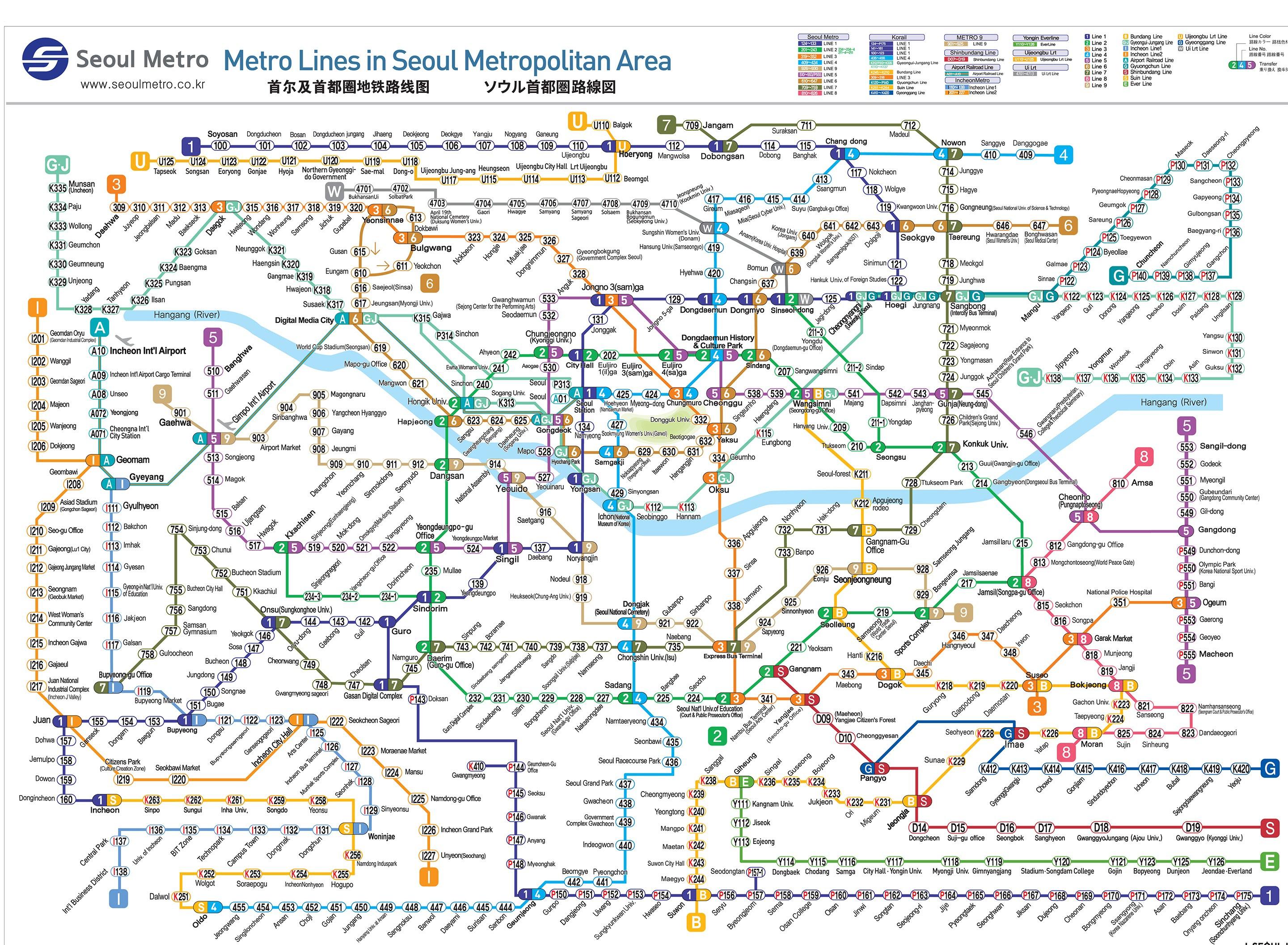 World Metro Subway Map.Seoul Subway Map Pdf World Map Interactive