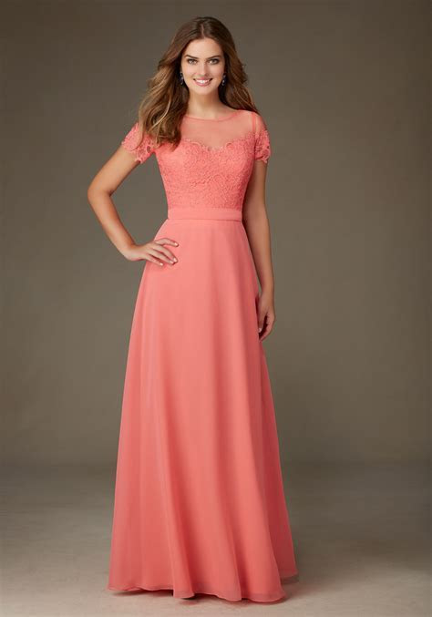 Chiffon Bridesmaid Dress Featuring a Lace Bodice and