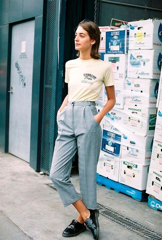 Le Fashion Blog Easy Masculine Inspired Summer Or Spring Look Vintage Tee Tucked Into Grey High Waisted Cropped Pants Leather Oxfords Via Caves Collect