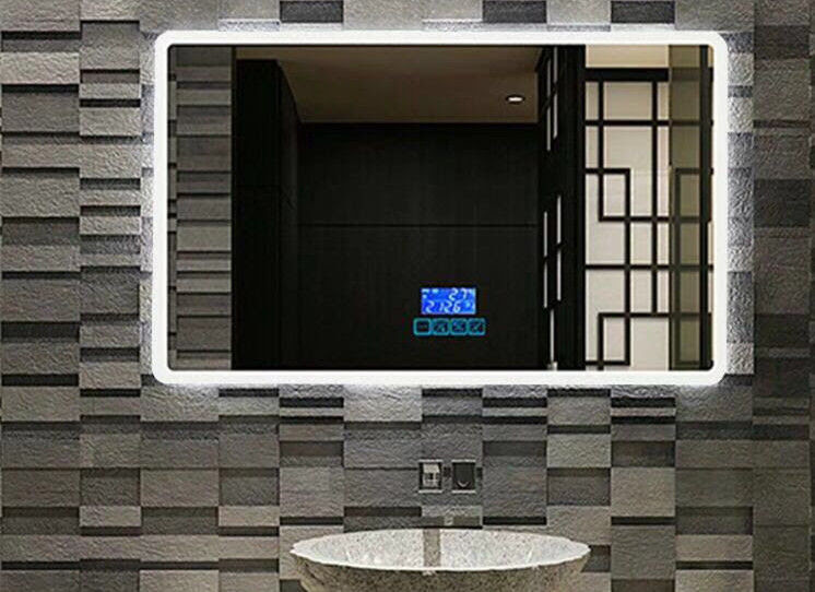 Smart Touch Screen Lighted Bathroom Vanity Wall Mirror For Hotel