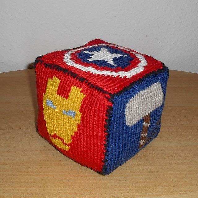 Free knitting pattern for Marvel Roll the Dice and more super hero knitting patterns