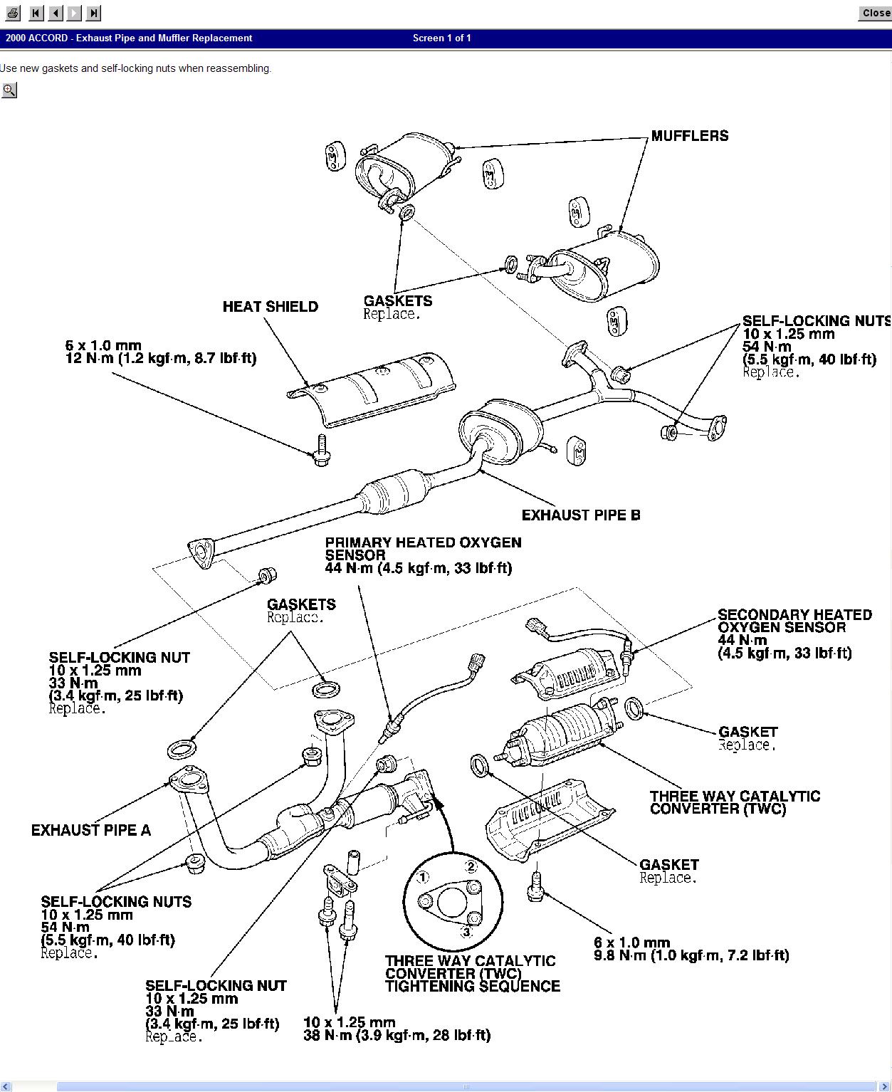Honda Civic 1999 Honda Civic Exhaust System Diagram