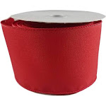 Spring Satin Wired Edge Ribbon for Wreaths, Crafts, Hair Bows - Solid Pastel Colors, 2.5 Inches by 25 Feet (Red)