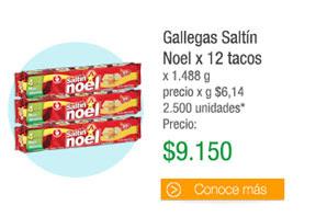 Gallegas SaltínNoel x 12 tacos - x 1.488 g precio x g $6,14 2.500 unidades* - PRECIO: $9.150