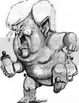 The classic NY Post (or NY Daily News?) cartoon from the 1990s of Newt Gingrich dressed only in a diaper, stamping his foot, waving his bottle, and crying his eyes out.