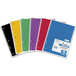 "Mead Products 1-Subject Wide Rule Spiral Bound Notebook, Assorted Colors, 8"" x 10.5"" - 70 sheets"