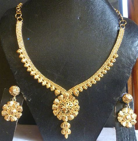 22K Gold Plated Indian Wedding Fashion Necklace Earrings