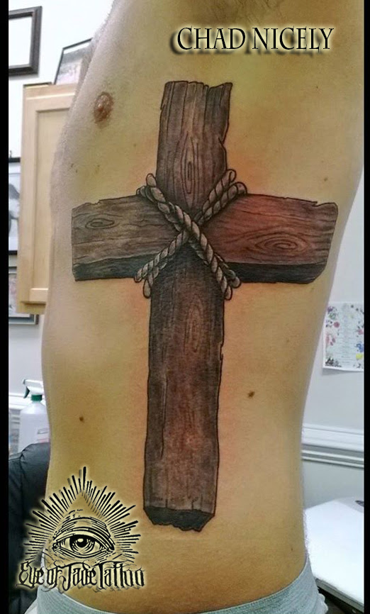 Realistic Wood Cross Rib Tattoo by Chad Nicely by ...