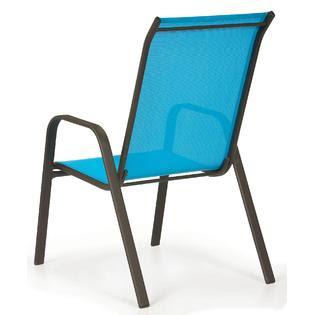 Essential Garden Bartlett Solid Blue Stack Chair - Outdoor ...