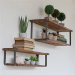 Recycled Wood and Metal Shelves (Set of Two)
