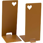 Juvale 1-Pair Antique Gold Bookends - Non-Skid Metal Bookend Supports with Heart Cutout for Shelf, Kids Room, School, Dorm, Office Desk, Home Decor, and