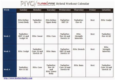 piyo turbo fire hybrid calendar workout calendar