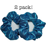 Metallic Scrunchies (Turquoise) / 2 piece Pack