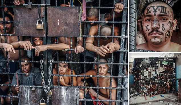 Huddled together like cattle in a cage, some of the men of El Salvador's prison pits have languished in these rancid holding cells for more than a year.