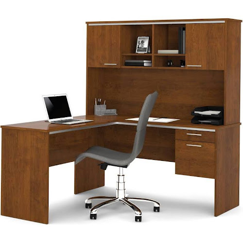 Bestar 90427 63 Flare L Shaped Workstation In Tuscany Brown