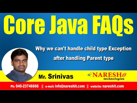 Why we can't handle child type Exception after handling Parent type - Mostly Asked Java Interview Questions