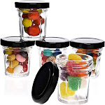 48-Pack 1 Ounce Mini Glass Jars With Black Lids For Party Favors, Spices, Crafts