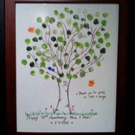 40th anniversary gift for my parents; fingerprint tree