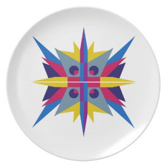 Melamine Plate with Art Deco Star