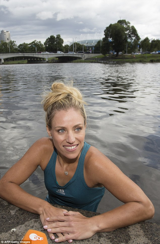 New Australian Open champion Angelique Kerber has celebrated her win by taking a swim in the Yarra River
