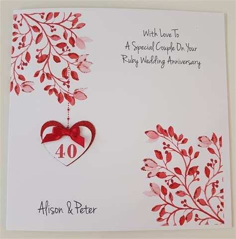 Personalised Ruby 40th Anniversary Card Husband Wife   Any