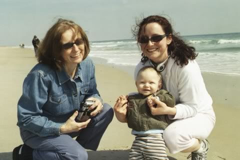 Grammie, Gabe, and Aunt Laura on the beach