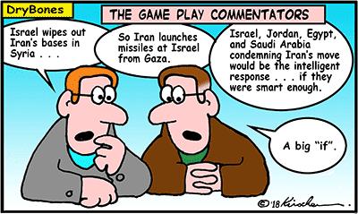 Dry Bones cartoon, Sunni,Iran, Egypt, Jordan, Saudi Arabia, chess, Arab, Israel, Gaza, missiles, missile attack,
