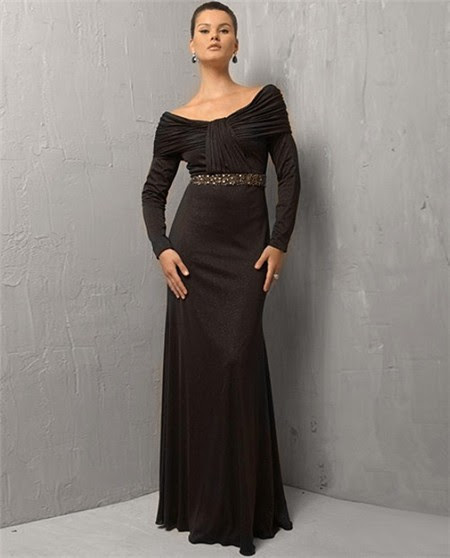 Long sleeve long black evening dress