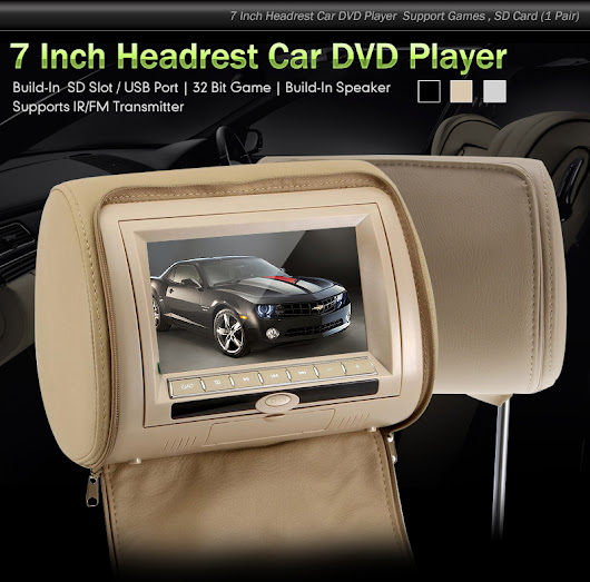 "Dual 7"" Headrest Dvd Players Monitors USB SD Games Zipper Cover"
