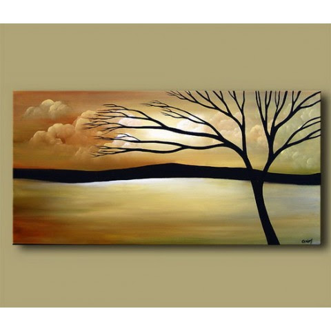 Hand Painted Tree Oil Painting With Stretched Frame 16 X 32