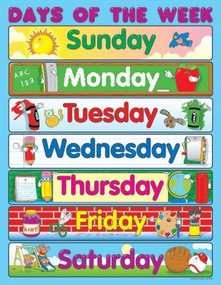 Number Names Worksheets : days of the week chart printable ~ Free ...
