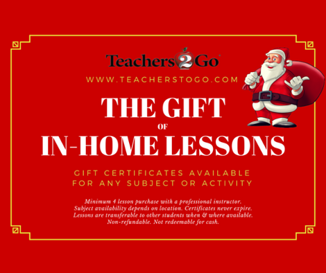 Teachers 2 Go - Gift Certificates for Lessons In Your Home in Houston