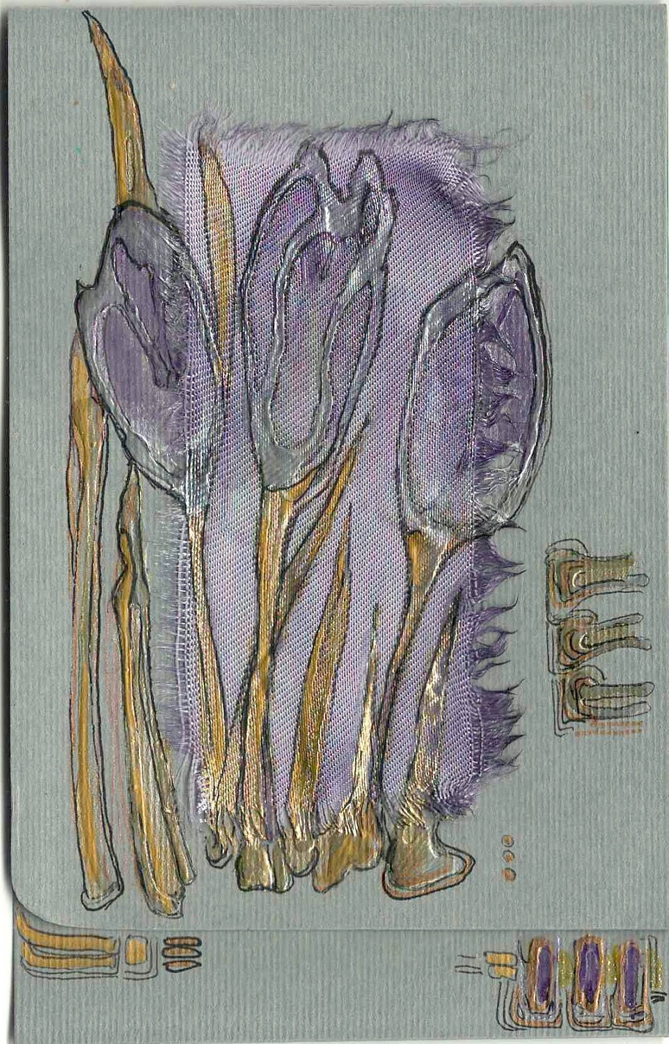 Mauve crocuses - blank greeting card for any occasion