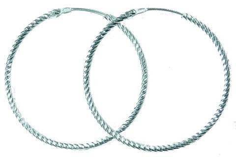 Loopty Hoops Endless Diamond Cut Sterling Silver Hoop Earrings