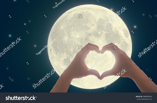 Image: Male Hands In The Form Of Heart Against The Dark Sky, Moon And ...