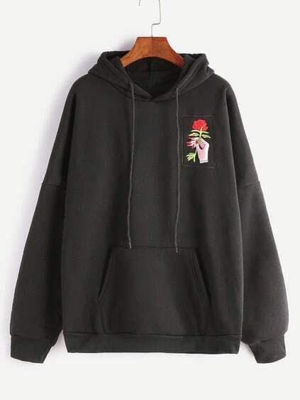 Resultado de imagen para Black-Drop-Shoulder-Hand-Rose-Embroidery-Hooded-Pocket-Sweatshirt