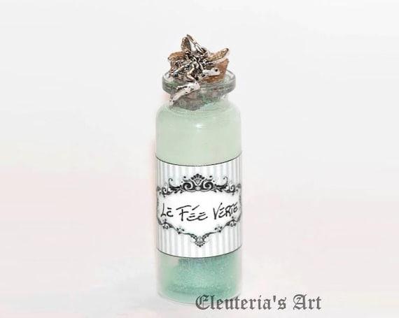 Absinthe Green Fairy Bottle Necklace Pendant bohémien La fée verte - Miniature Food Jewelry - Victorian - Steampunk - Gothic Dark - Retrò