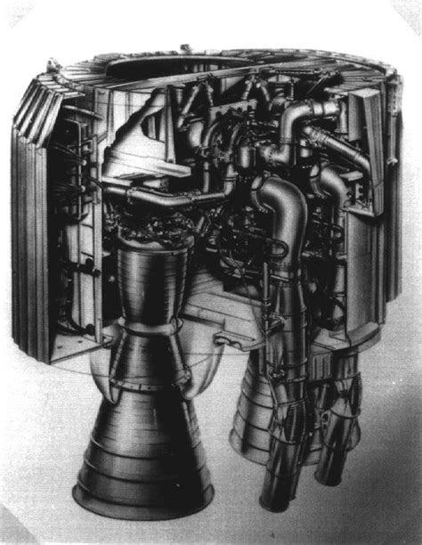 Cutaway of Blue Streak / Europa engine bay, showing Rolls