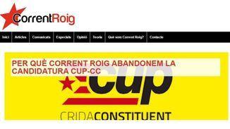 Comunicat a la web de Corrent Roig explicat perquè abandona la CUP-CC